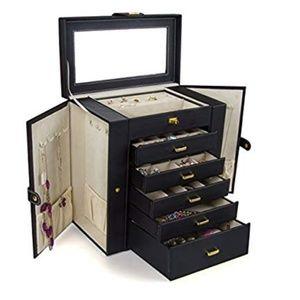 New! Black Jewelry box case storage container